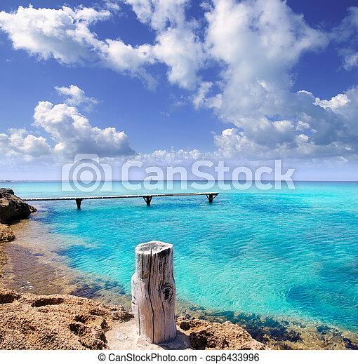 illeta wooden pier turquoise sea Formentera - csp6433996