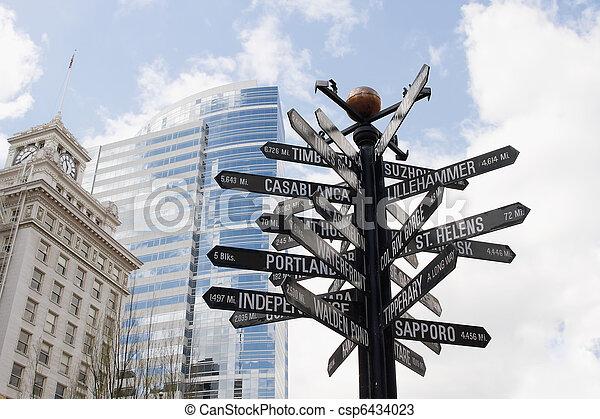 Directional Signpost to World Landmarks - csp6434023