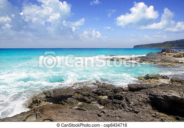 escalo es calo Formentera north rocky coast aqua - csp6434716