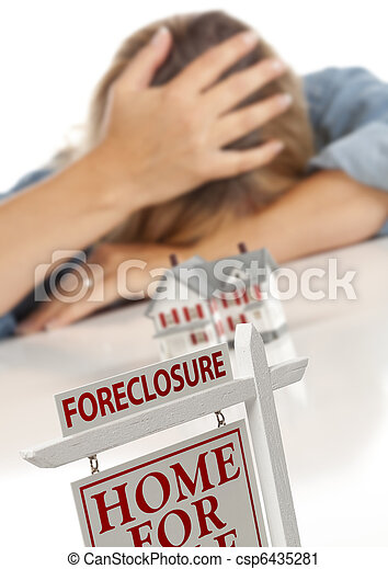 Woman, Head in Hand Behind Model Home and Foreclosure Sign - csp6435281