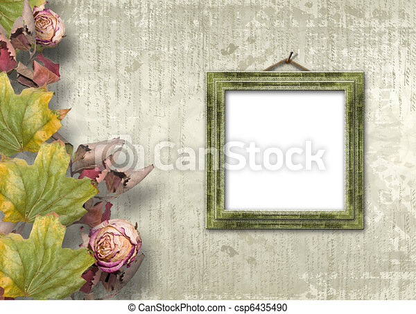 Grunge papers design in scrapbooking style with frame and foliage - csp6435490