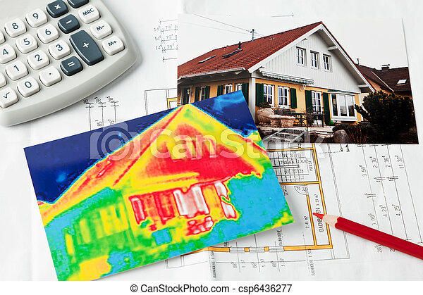 Save energy. House with thermal imaging camera - csp6436277