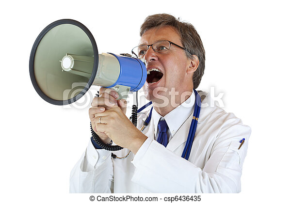 Elderly handsome Doctor shouts loudly in megaphone - csp6436435