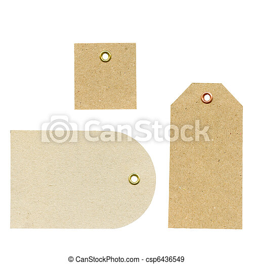 A set of three blank new brown rough paper tags, used for selling clothes etc., isolated on white background, higly detailed - csp6436549