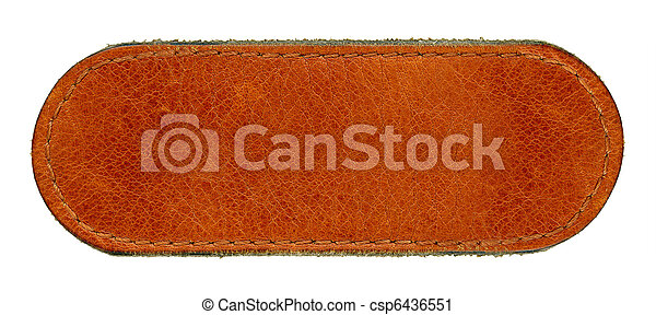 Big size blank grungy brown natural leather jeans label, highly detailed, isolated on white background - csp6436551