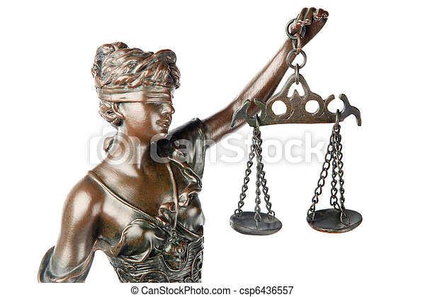 Closeup of a sculpture of Themis, mythologic greek godness, symbol of justice, blind and holding empty balance in her hand, isolated on white backgroung - csp6436557
