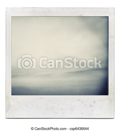 Designed grungy instant film frame with abstract filling isolated on white, kind of background, vintage hard grain effect added   - csp6436644