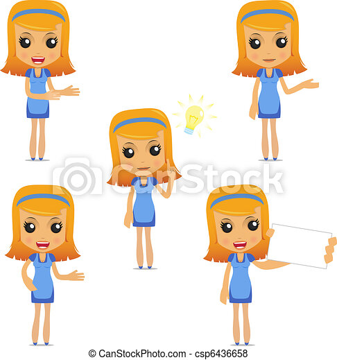 set of funny cartoon housewife - csp6436658