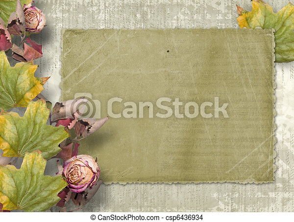 Grunge papers design in scrapbooking style with paper and foliage - csp6436934