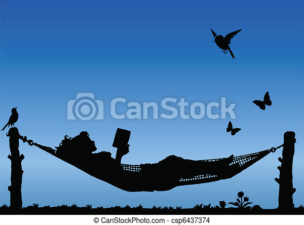 Reading in a Hammock  - csp6437374