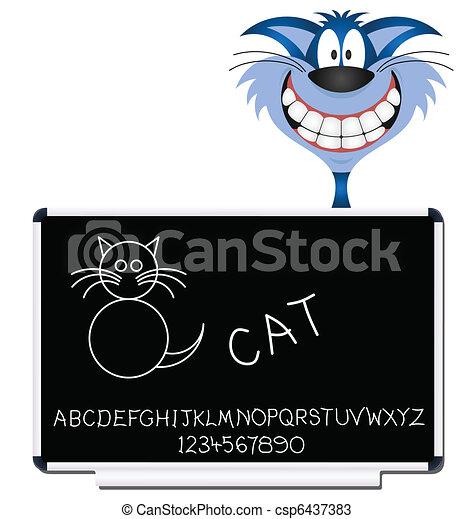 Cat children learning blackboard  - csp6437383