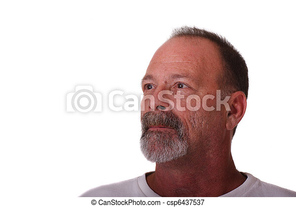 Older Guy with Grey Beard and Mustache Looking Up and Right - csp6437537