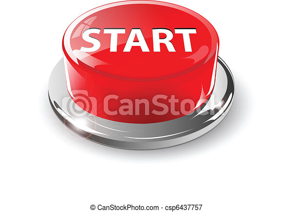 Start button, 3d red vector. - csp6437757