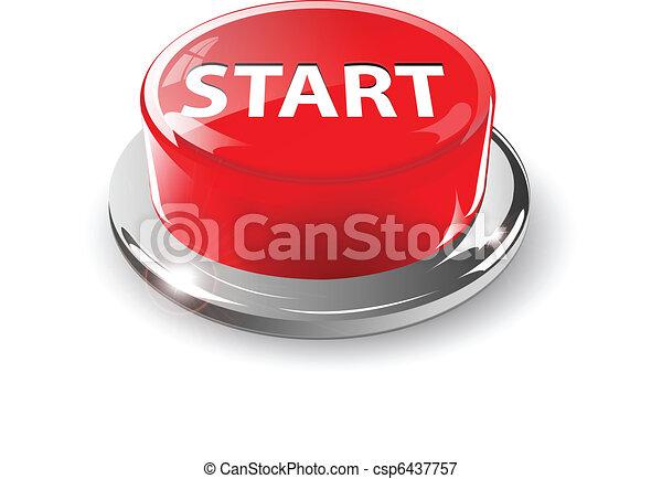 Start button, 3d red vector. - csp6437757
