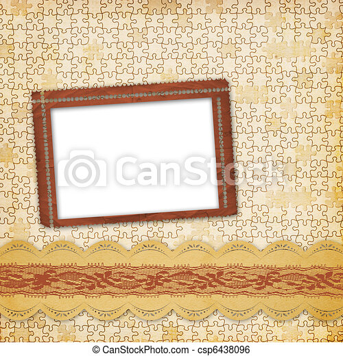 Vintage album with frame and ornate lace - csp6438096