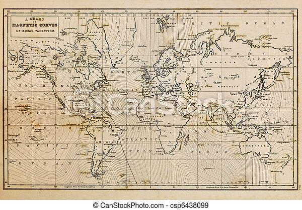 Landkarte, altes, Weinlese,  Hand, Welt, gezeichnet - csp6438099