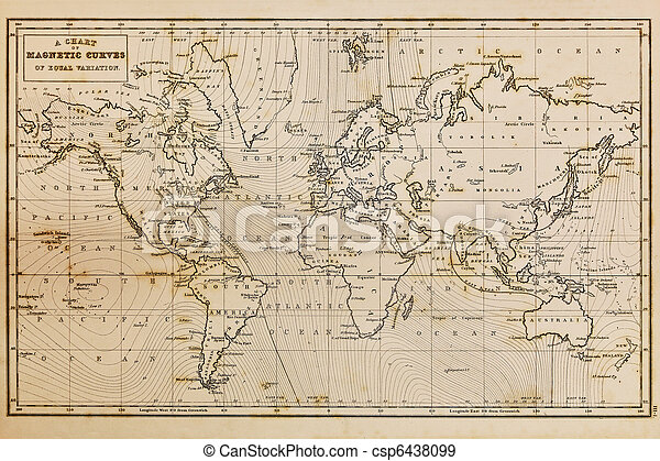 Old hand drawn vintage world map - csp6438099