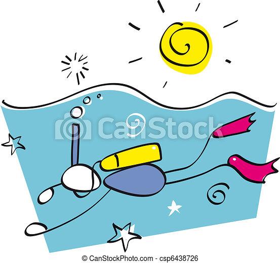 Funny snorkeling guy - csp6438726