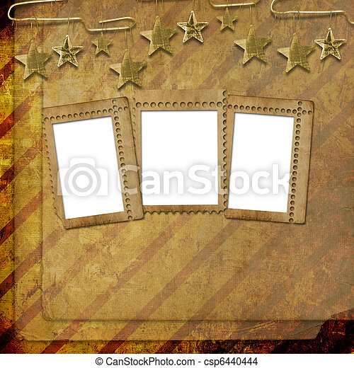 Abstract untidy ancient background in scrapbooking style with frame - csp6440444