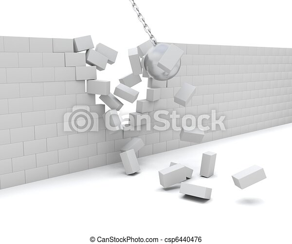 Wrecking ball demolishing a wall - csp6440476