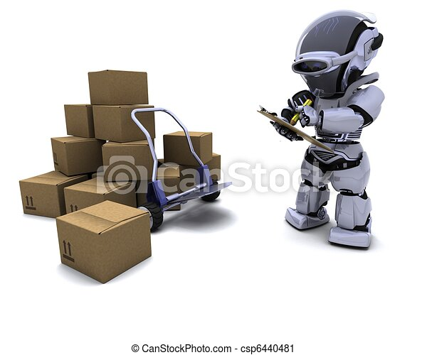 Robot with Shipping Boxes - csp6440481