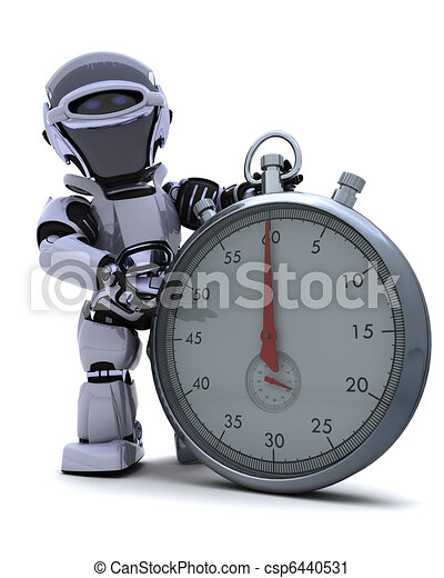 Robot with a Traditional chrome stop watch - csp6440531