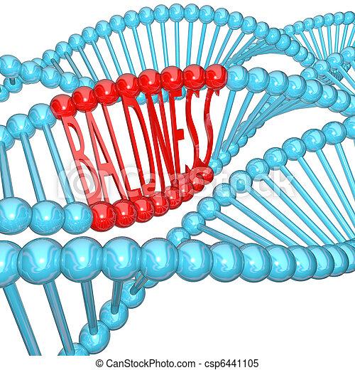 Baldness - Hereditary Genetics in DNA Strand - csp6441105