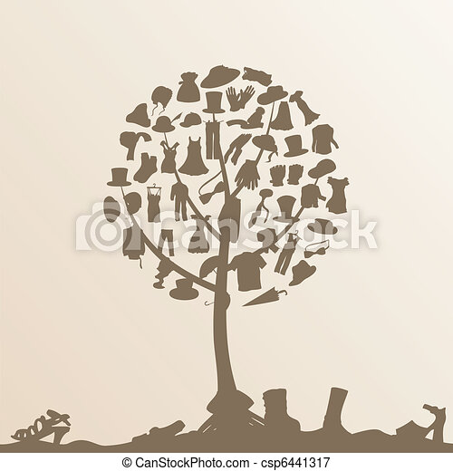 clothes tree clothes on tree branches a vector