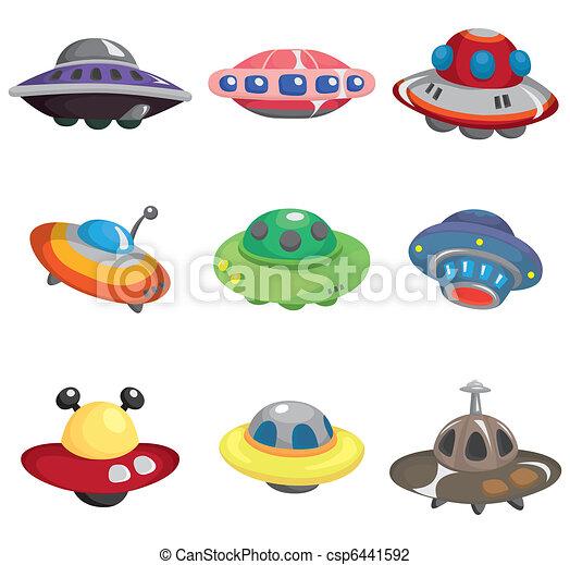 cartoon ufo spaceship icon set - csp6441592