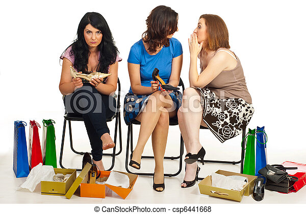 Two women gossip about their friend - csp6441668