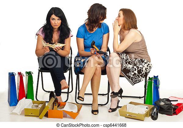 Two women gossip about their friend - csp6441668