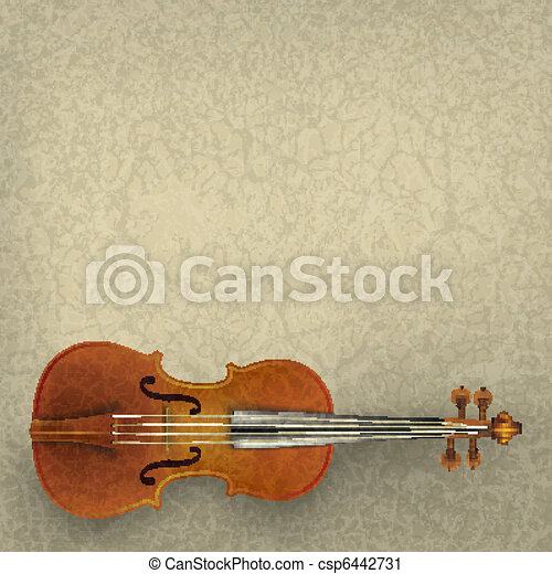 abstract grunge music background with violin - csp6442731