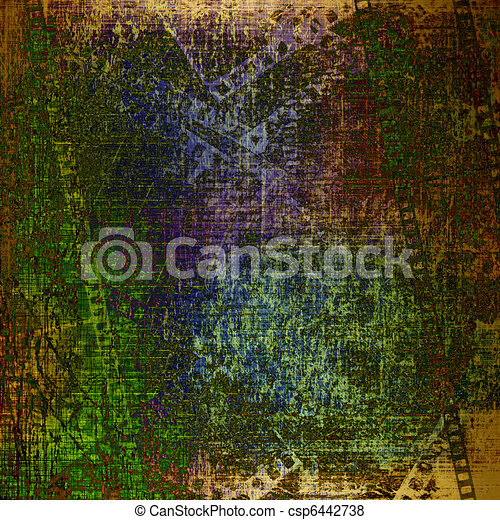 Abstract ancient background in scrapbooking style with gold ornamental - csp6442738
