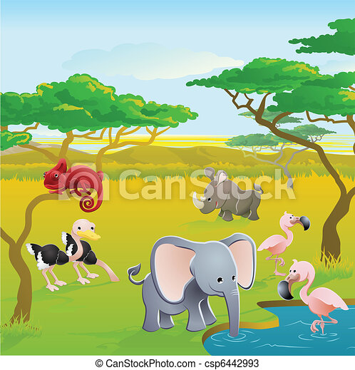 Cute African safari animal cartoon  - csp6442993