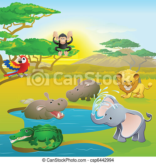 Cute African safari animal cartoon scene - csp6442994