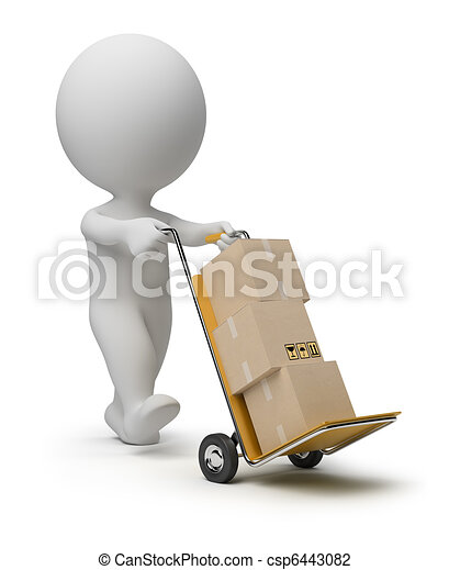 3d small people - hand truck - csp6443082