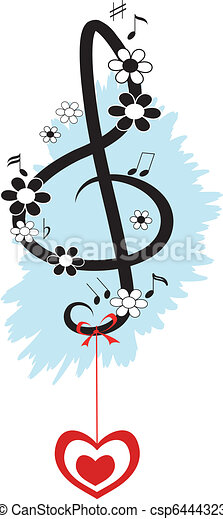 Treble clef, decor - csp6444323