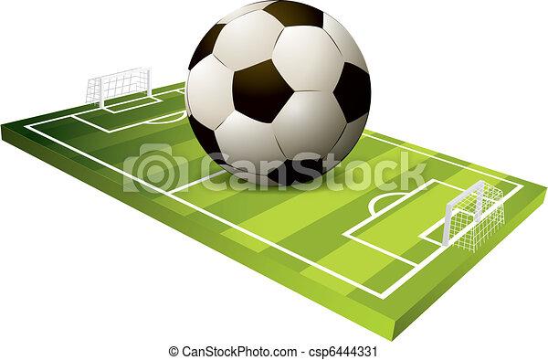 3d Soccer field vector - csp6444331