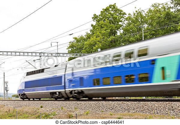 train of TGV, Burgundy, France - csp6444641