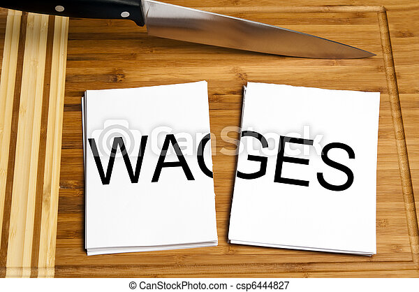 Knife cut paper with wages - csp6444827