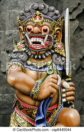 statue in temple bali indonesia - csp6445044