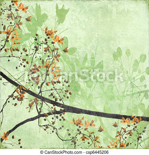 Tangled Blossom Border on Antique Paper - csp6445206