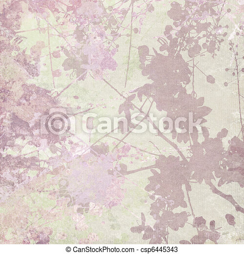 Flower Silhouette Print on Pastel Background - csp6445343
