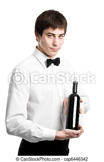 Waiter sommelier with wine bottle and stemware - csp6446342