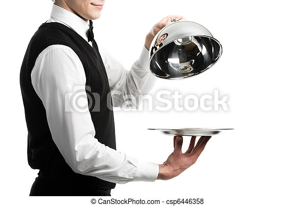hands of waiter with cloche lid cover - csp6446358