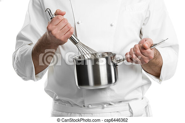 chef hands with whisk and pan isolated - csp6446362