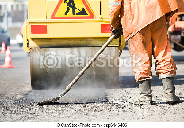 Asphalt paving works with compactor - csp6446406
