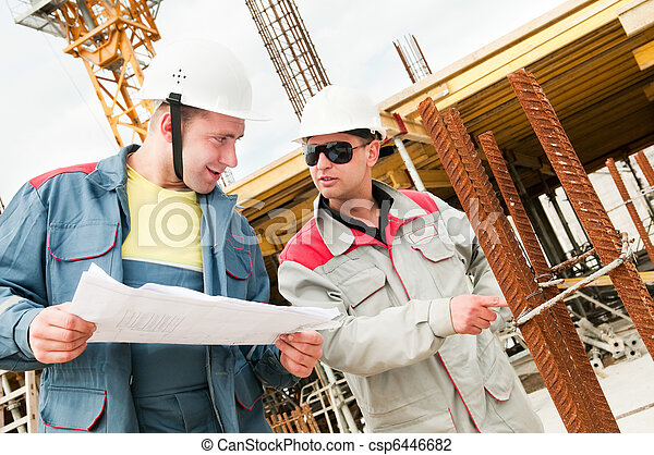 Engineers builders at construction site - csp6446682