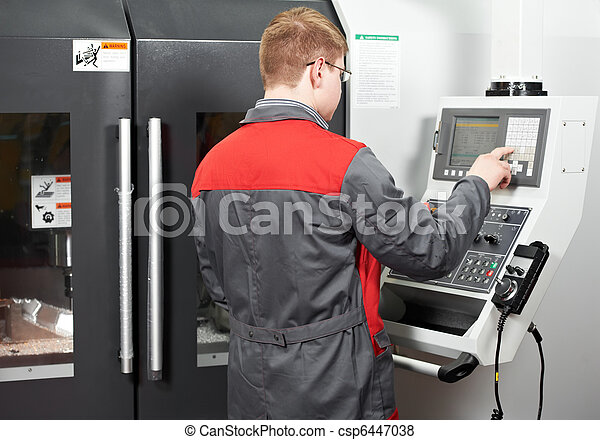 worker at machining tool workshop - csp6447038