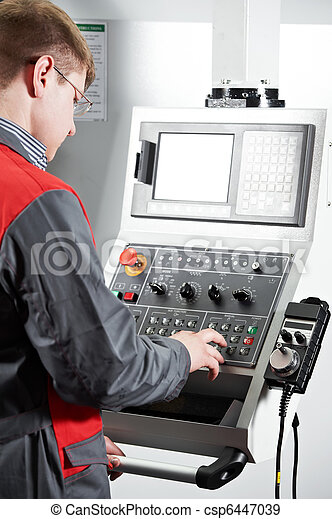 worker at machining tool workshop - csp6447039
